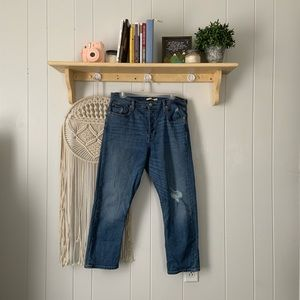 LEVIS wedgie straight distressed jeans